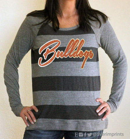 Pullover BULLDOGS, ladies' glittery sparkle eco jersey pullover, super soft, your choice of colors