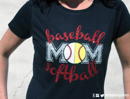 BASEBALL SOFTBALL MOM, sparkly baseball and softball glitter shirt