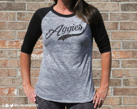 AGGIES Raglan Burnout 3/4 sleeve T-shirt with YOUR CHOICE of team name