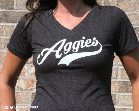 AGGIES Triblend T-Shirt with YOUR CHOICE of mascot and shirt style