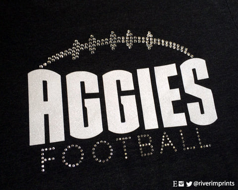 Tee AGGIES Rhinestone T-Shirt with YOUR CHOICE of mascot and shirt style