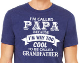 I'M CALLED PAPA because I'm way to cool to be called Grandfather Graphic Triblend Tee by River Imprints
