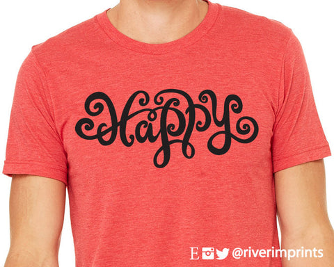 HAPPY Graphic Triblend Tee by River Imprints
