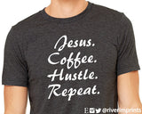JESUS COFFEE HUSTLE REPEAT Graphic Triblend Tee by River Imprints