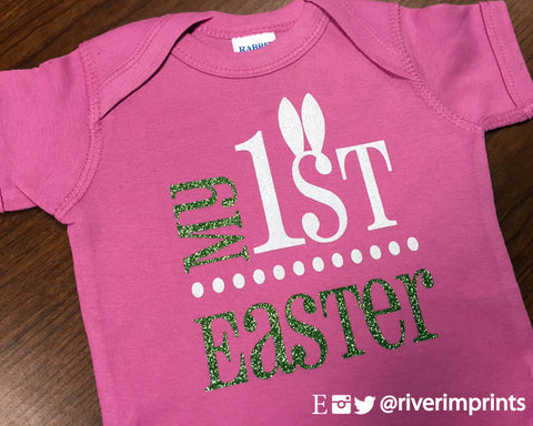 755049c320bd MY FIRST EASTER Glittery Cotton Onesie or Tee – River Imprints