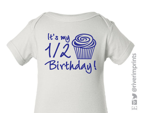 Baby 1/2 BIRTHDAY one piece, foil cupcake bodysuit creeper