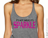 IT'S NOT SWEAT, IT'S SPARKLE Glittery Fitted Tank