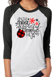 IT'S THE MOST WONDERFUL TIME OF THE YEAR Buffalo Plaid Triblend Raglan by River Imprints