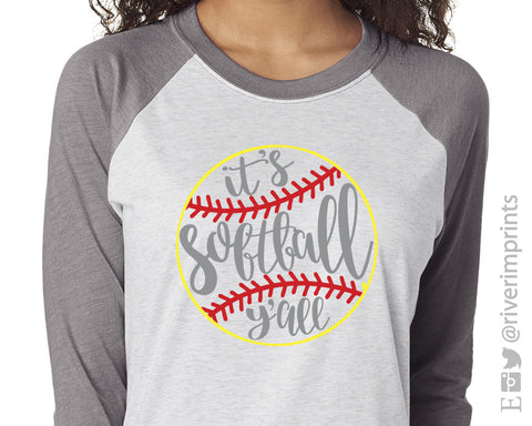It's Softball Ya'll Triblend Baseball Raglan