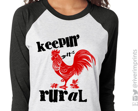 KEEPIN' IT RURAL Sublimated Triblend Raglan by River Imprints