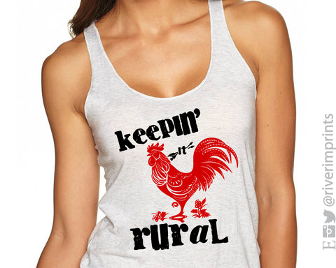 KEEPIN' IT RURAL Sublimated Triblend Tank by River Imprints