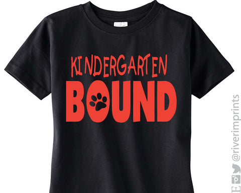 KINDERGARTEN BOUND WITH PAW Youth Cotton Tee River Imprints