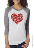 Lacy Heart Shiny Foil Raglan Unisex Valentine's Day Triblend Tee