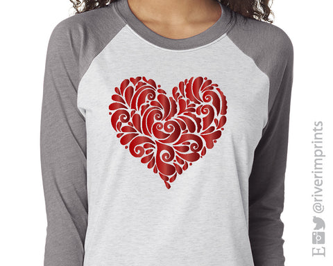 Lacy Shiny Foil Heart Valentine's Day shirt