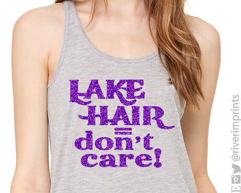 LAKE HAIR DON'T CARE Glittery Flowy Tank