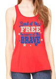 LAND OF THE FREE BECAUSE OF THE BRAVE Glittery Flowy Tank