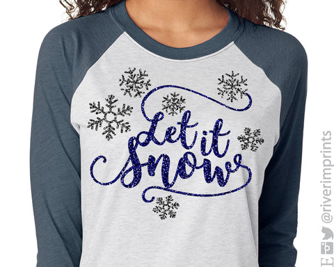 LET IT SNOW Glittery Raglan Tee by River Imprints