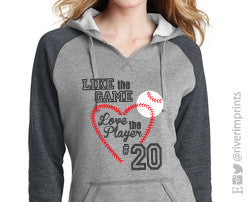 Hoodie LIKE THE GAME LOVE THE PLAYER Raglan Vneck Hooded Sweatshirt