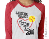 LIKE THE GAME LOVE THE PLAYER Triblend Raglan by River Imprints