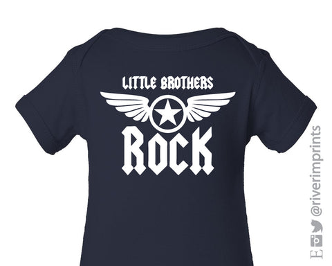 Baby LITTLE BROTHERS ROCK baby boy onepiece bodysuit or tshirt