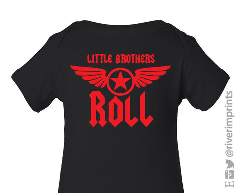 Baby LITTLE BROTHERS ROLL, shiny foil baby boy one piece or tshirt