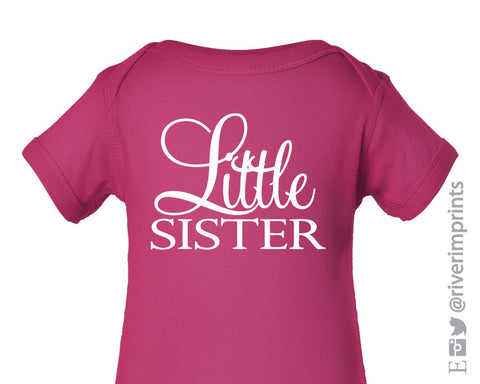 LITTLE SISTER Graphic Cotton Onesie or Tee by River Imprints