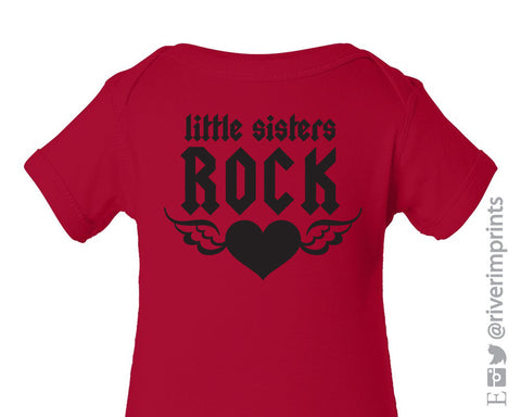 Baby LITTLE SISTERS ROCK, baby girl bodysuit creeper or tshirt