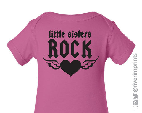 Baby LITTLE SISTERS ROCK, baby girl one piece or tshirt