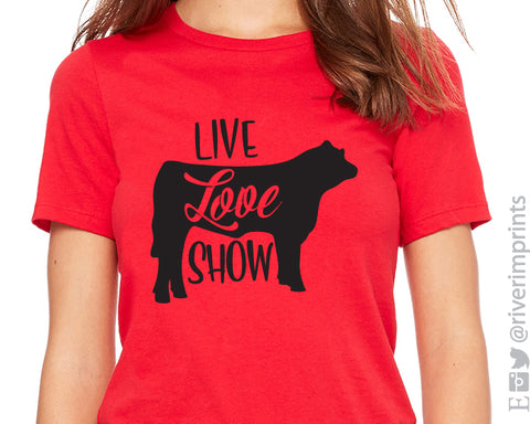 LIVE LOVE SHOW STEER Triblend Graphic Tee by River Imprints