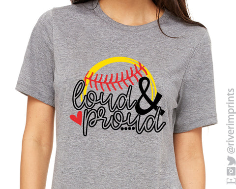 LOUD AND PROUD Softball Graphic Triblend Tee by River Imprints