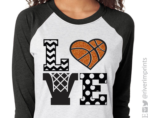 LOVE BASKETBALL Glittery Triblend Raglan by River Imprints
