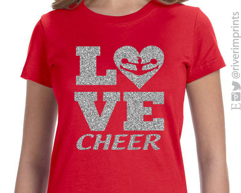 LOVE CHEER Glittery Youth Cotton Tee River Imprints
