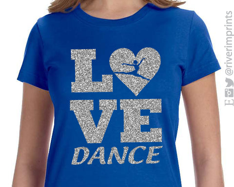 LOVE DANCE Glittery Youth Cotton Tee River Imprints