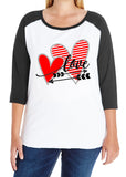 LOVE and ARROW curvy women's 3/4 sleeve raglan Valentine's Day shirt