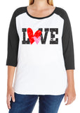 LOVE Distressed Heart Curvy Collection Women's Valentine Raglan