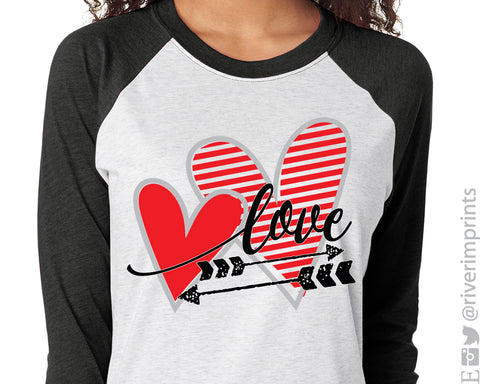 LOVE and ARROW triblend 3/4 sleeve raglan Valentine's Day shirt