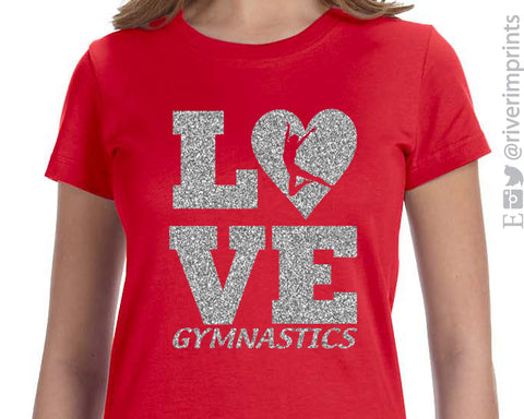 LOVE GYMNASTICS Glittery Youth Girls Tee River Imprints