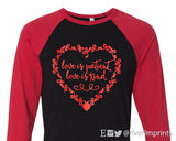 LOVE IS PATIENT Shiny Triblend Raglan Valentine's Day