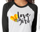 LOVE MY GIRL Triblend Raglan by River Imprints