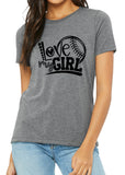 LOVE MY GIRL Softball Triblend T-shirt by River Imprints