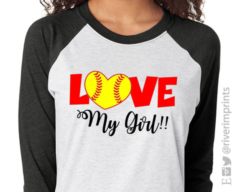 SALE - LOVE MY SOFTBALL GIRL Graphic Triblend Tee