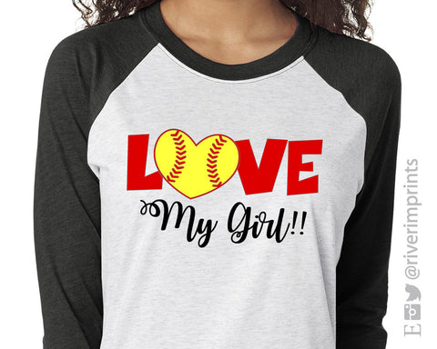 Love My Girl Triblend Baseball Raglan