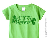 LUCKY CHARM glittery girls St Patricks Day tshirt