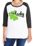 LUCKY Plaid Shamrock Glittery Curvy Collection Women's Raglan