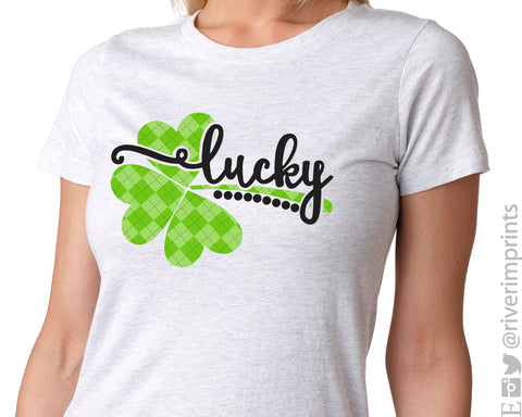 LUCKY Plaid Shamrock Unisex Triblend Tee