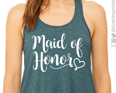 MAID OF HONOR WITH HEART Flowy Tank