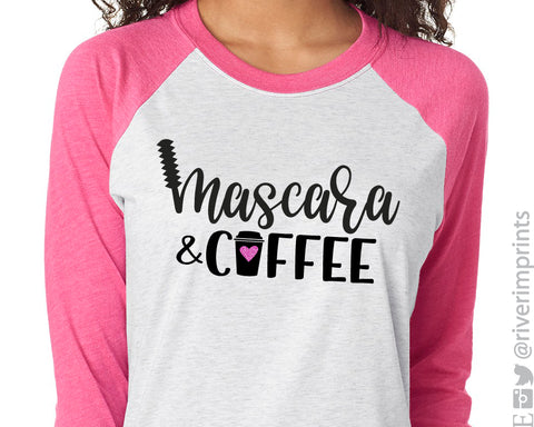 MASCARA AND COFFEE Glittery Triblend Raglan by River Imprints