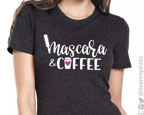 MASCARA AND COFFEE Glittery Triblend Tee by River Imprints