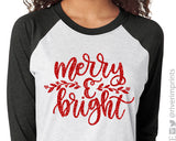 MERRY & BRIGHT Glittery Triblend Raglan