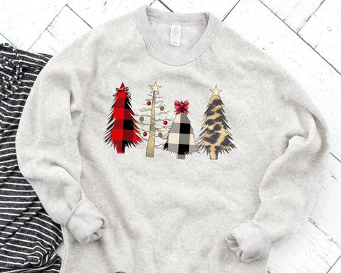 FOUR CHRISTMAS TREES Sublimated Fleece Raglan Sweatshirt